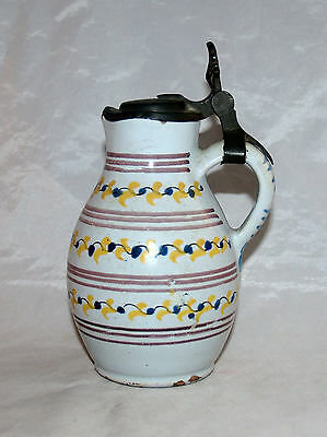Antique German Tin Glazed Delft Earthenware Jug Stein Tankard Mug Birnkrug