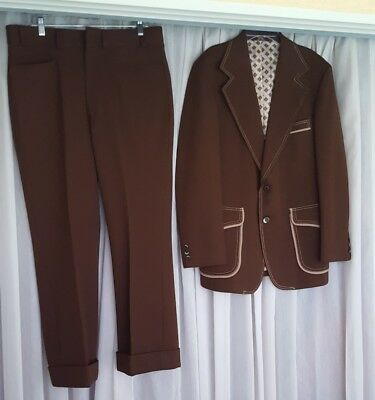 RARE! VTG 70s Polyester Leisure Suit by MONTGOMERY WARD 42R 36/30~Brown & Cream