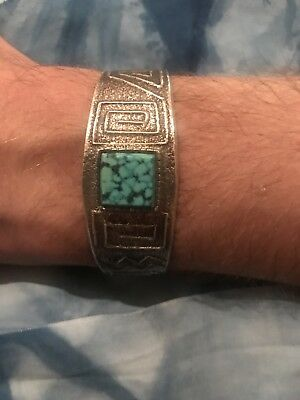 Native American Silver And Turquoise Bracelet GH Signed vintage graphic workwear