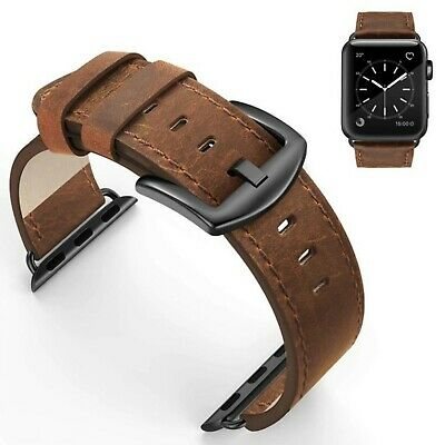 Leather Retro Vintage Design Band for Apple Watch Series 4 3 2 1 42/44mm Brown