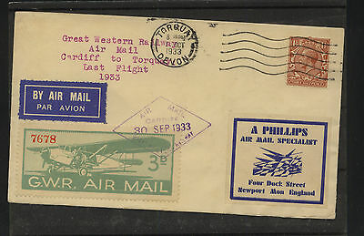 Great  Britain  last flight cover tied label  1933        KL0626
