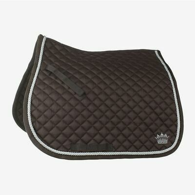 Horze Silver Cord All Purpose Shaped Saddle Pad with Crown Embroidery