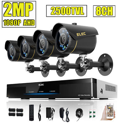 ELEC 8CH Real 1080P 2MP Security Camera System w/3in1 DVR 2500TVL Outdoor AHD