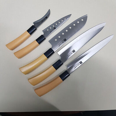 5P Knife Set Kitchen Cutlery Japanese Chef Sashimi Cook Sharpener Sushi Knives H