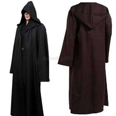 US Gothic Hooded Cloak Robe Medieval Witchcraft Cape Halloween Cosplay Costume