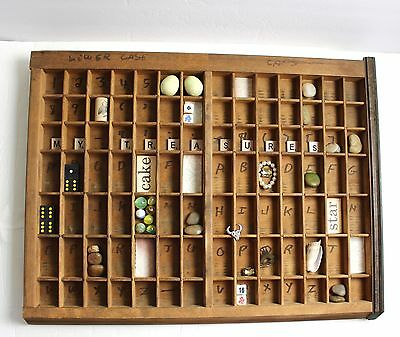 """VTG Printers Drawer 22..5 x 17"""" Wood Tray Letterpress Type Case & Collectibles"""