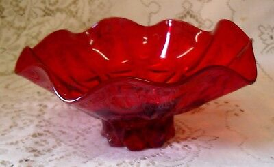 Vintage Ruby Red Glass Fluted Ruffled Bowl