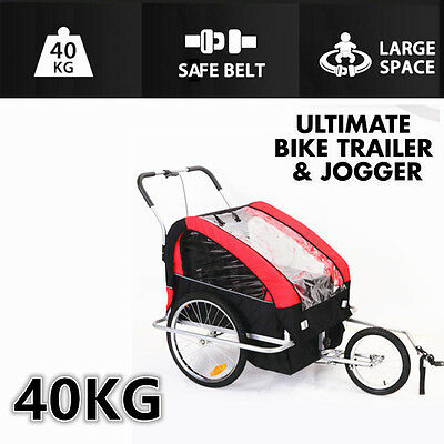 2IN1 Double Child Twins Large Space BIKE TRAILER Jogger Capacity Up 40KG
