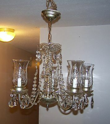 Vintage Crystal Chandelier Crystal Prisms / Chains Etched Hurricane Shades 5 Arm