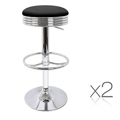 Set of 2 PU Leather Swivel Bar Stools Black Saloon Style