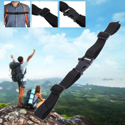 Adjustable Nylon Webbing Sternum Strap Backpack Chest Harness w/ Whistle Black