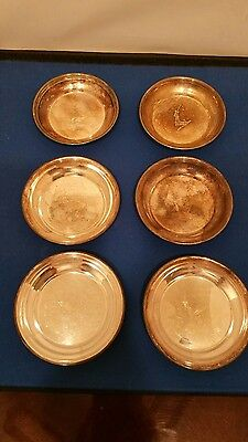 Antique Silverplate Coaster Barker Ellis Made in England  Round 6 pieces - a lot