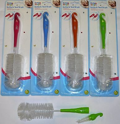 2 in 1 Baby Milk Bottle Teat Brush Vent Easy Clean Cleaning Cleaner Straw
