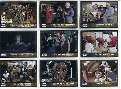 Star Wars Force Awakens S1 Complete Behind The Scenes Chase Card Set #1-7