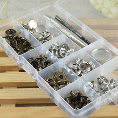 30 Sets inBox 15/17mm Press Studs Kit Metal Snap Fasteners Sewing Pop Closures