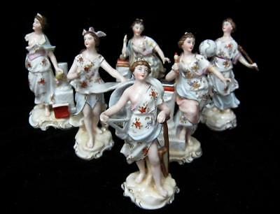 C19th 6 Muse Figurines depicting Arts and Science etc - Damaged