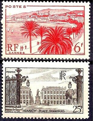 France 1947 UNESCO Tourism Cannes/Nancy Views Place Stanislas Heritage 2v MNH