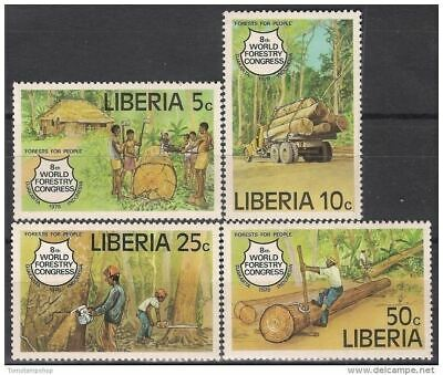 Liberia 1978 Wood Industry Forest Trees Workers Truck Lorries Transport 4v MNH**