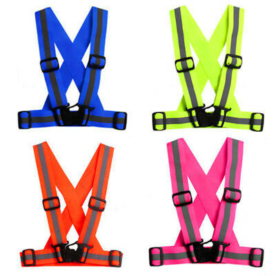 Adjustable Reflective Vest High Visibility Safety Straps For Cycling Running  AU