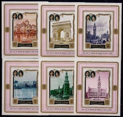 Ajman 1971 Japan Royal Visit Building Architecture Paris London Clock DeLuxe MNH