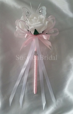 Pink Wedding Flowers Bridesmaids Bouquet  Bridal White Butterfly Wand Pink Satin