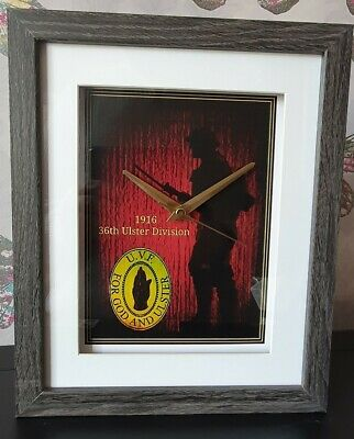 WW1 - Ulster Volunteer Force (UVF) 1914 - 1918 10 X 8 BOX FRAME PICTURE CLOCK