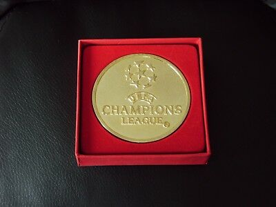 Champions League Medal - In Red Box With Insignia - Gold Plated