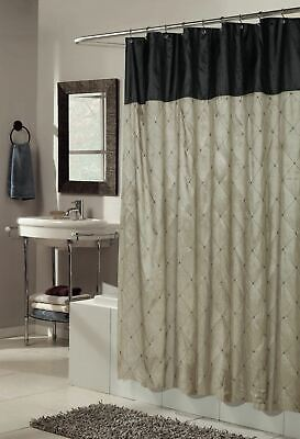 Solid Brown Black Diamond Shower Curtain Fabric Modern Bathroom 70 X 72 Inch