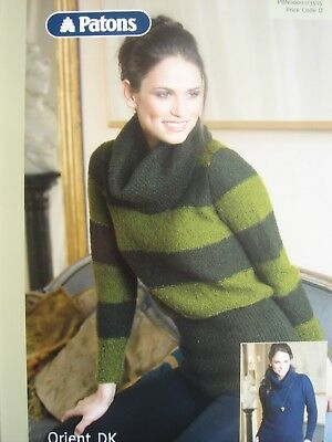 PATONS 03515 - LADIES DK STRIPED COWL NECK SWEATERS KNITTING PATTERN 32/42in
