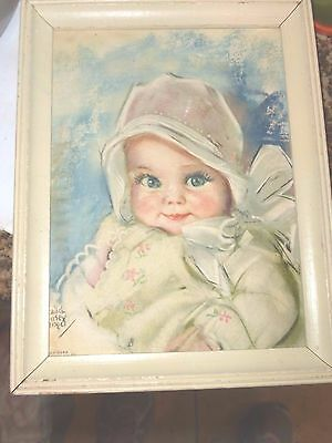 Vintage Framed Baby  With Bonnet Picture