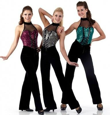 Never Say Never Dance Costume TEAL Sequin Halter Jumpsuit Child Small New