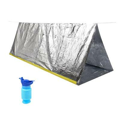 Outdoor Camping Emergency Survival Tent Shelter Tarp + Portable Urinal Pee