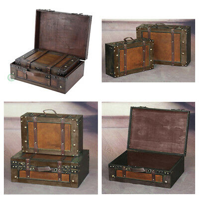 Vintage Suitcase Antique Old Style Wood Chest Treasure Rustic Travel Art Case