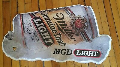 Miller beer sign metal tin tacker bar signs 1 old MGD Genuine Draft Light 34""