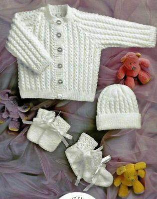 VAT FREE KNITTING Pattern 4Ply Baby Child Cardigan Hat Booties
