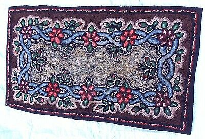 Antique Latch Hooked Rug Romantic Cottage Flower
