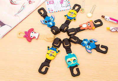 2 x Car Pushchair Pram Hook for Kids Cartoon Silicone Buggy Minion Cat Stitch