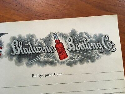 Bludwine Bottling Co. Early 1900s Receipt Bridgeport Conn Unused Billhead Paper