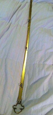 Vintage Long Wall Mount Brass Rack 3 Hooks Decorative Ends 40 Inches!