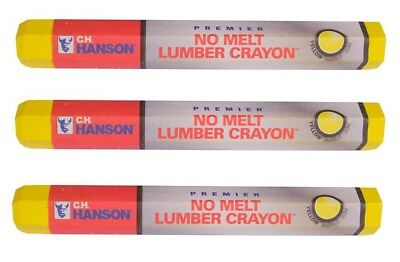 "3~ New C.H. Hanson Yellow Lumber Crayon 0.5"" x 4.5"" Metal lumber Concrete & More"