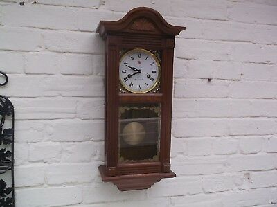 Beautiful Wall Clock 31 Day Mechanical (Wooden) Gongs The Hour And The Half
