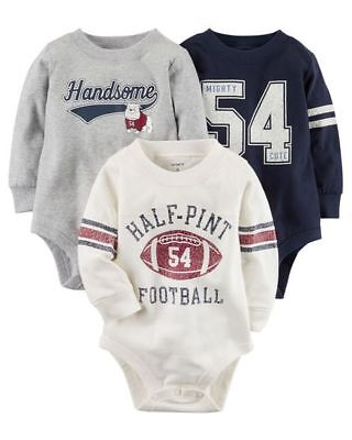 New Carter's 3 Pack Bodysuits Tops Football NWT 3m 6m 9m 12m 18 24 Boys Handsome