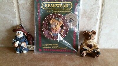 Boyds Bears Pins Frolickin 2002 Snowman Fireman Teddy Reading a Book