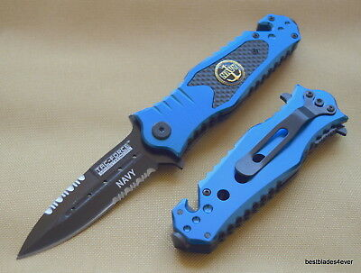 7.75 Inch Tacforce Tactical Navy Spring Assisted Knife With Pocket Clip