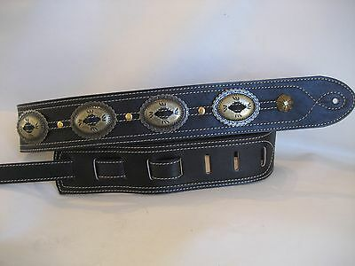 Leather Black Antique Gold Concho Bass Guitar Strap