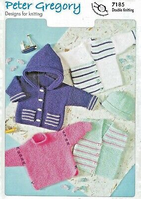 Simple Garter Stitch Baby Jackets Sweater & Hat DK KNITTING PATTERN - PG 7185