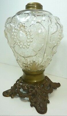 Antique 19c Cast Iron Glass High Relief Flower Kerosene Oil Lamp ornate details