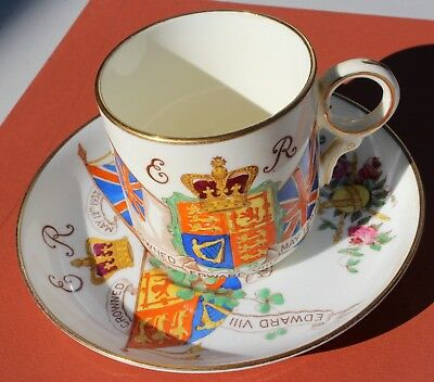 Edward VIII Coronation Cup & Saucer May 12th 1937 Hand Painted by Hammersley &Co