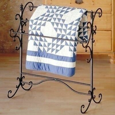 Bronze Metal Quilt Rack Blanket Display Stand Towel Storage Hanger Holder Scroll