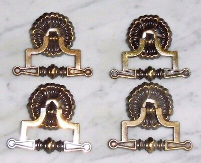 Set of 4 Vintage Single Drop Bail Knocker Drawer Pulls in Brass Tone Metal